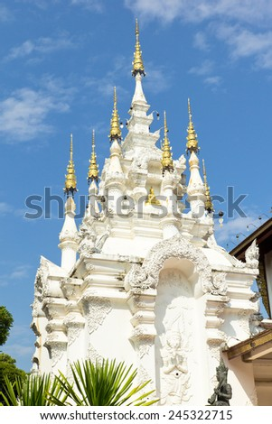 Temple of northern thai style architecture,Chiang Mai Thailand - stock photo