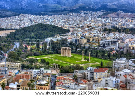 Temple of Olympian Zeus , Athens , Greece  - stock photo
