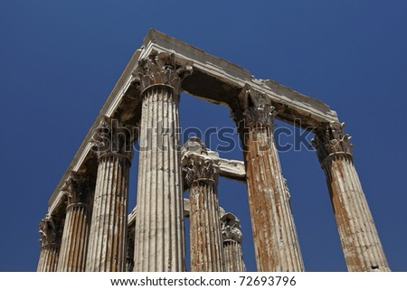 Temple of Olympian Zeus with its famous Corinthian columns located in Athens Greece