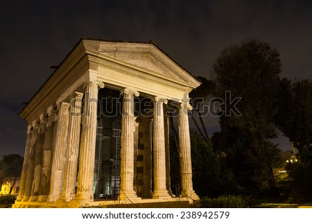 Temple of Portunus at night, Rome, Italy - stock photo