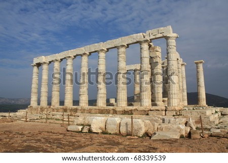 Temple of Poseidon at Cape Sounio, near Athens, Greece. - stock photo
