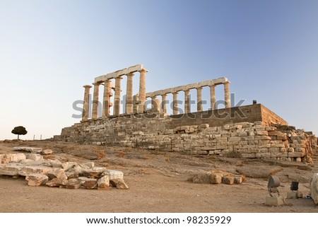 Temple of Poseidon at Cape Sounion, Greece - stock photo