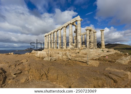 Temple of Poseidon at Cape Sounion in Greece