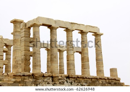 Temple of Poseidon at Cape Sounion near Athens, Greece. c 440 BC. - stock photo