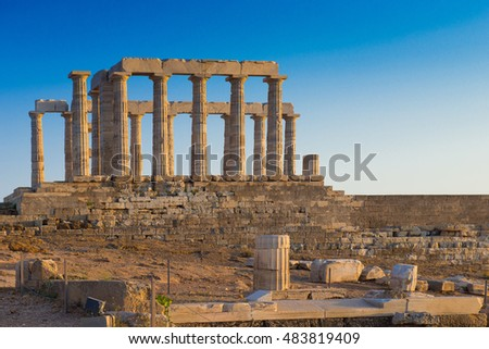 Temple of Poseidon, Greece. Cape Sounion, Ruins of an ancient Greek temple of Poseidon, sunset