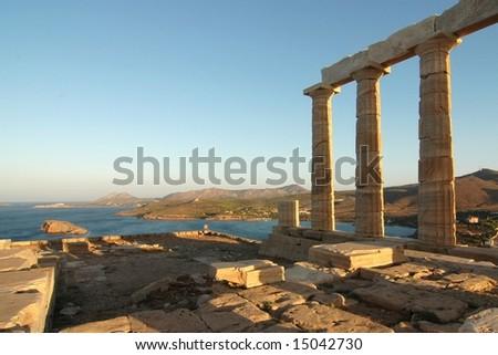 Temple of Poseidon in sunrise at Cape Sounion (Greece) - stock photo