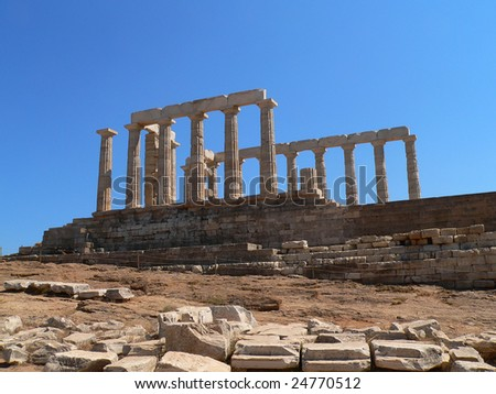 Temple of psidon at sounio, near athens in greece