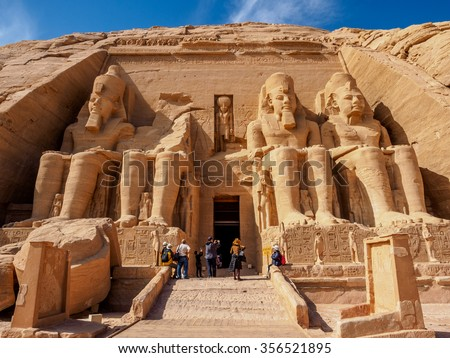 Temple of Rameses 2 in Abu Simbel at noon - stock photo