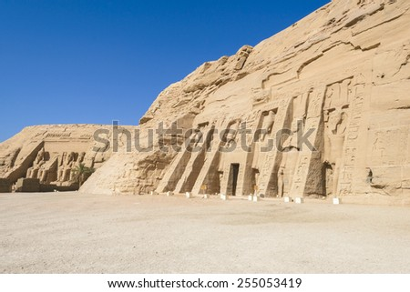 Temple of Ramses and Temple of Nefertari, Abu Simbel, Egypt - stock photo