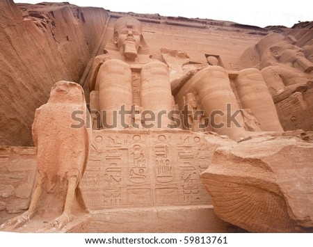 Temple of Ramses II  Built  1274-1244 BC in Abu Simbel, Egypt.  Huge statues near the southern borders of Egypt.  The temples were moved in 1964-1968 to the present site. - stock photo