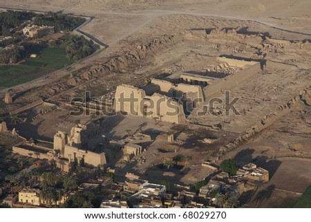 Temple of Ramses II, Luxor, Egypt, aerial shot