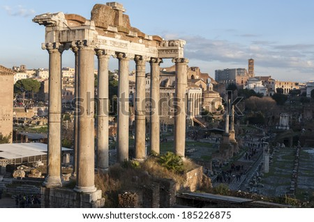 Temple of Saturn in the Roman Forum, Rome, Italy