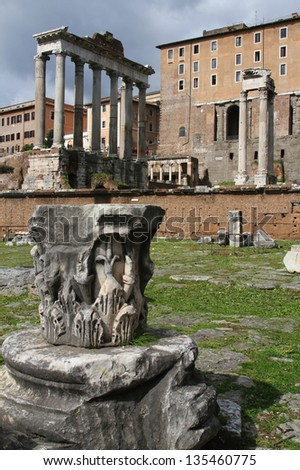 Temple of Saturn. The ruins of the temple stand at the foot of the Capitoline Hill in the western end of the Forum Romanum. - stock photo