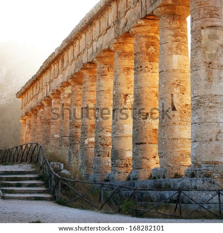 Temple of Segesta side view - stock photo