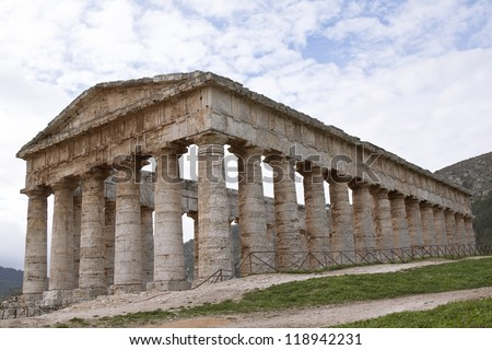 Temple of Segesta side view, western Sicily