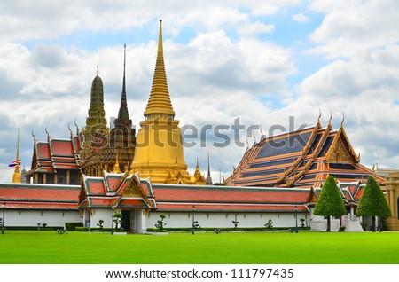 Temple of the Emerald Buddha (Wat Phra Kaew), Bangkok Thailand - stock photo