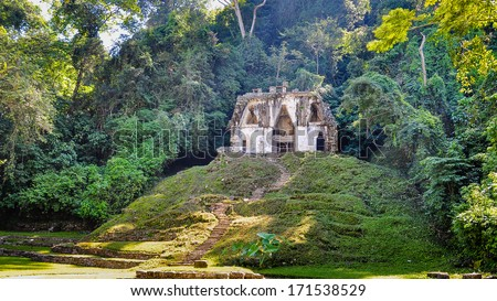 Temple of the Foliated Cross - Palenque, Mexico - stock photo