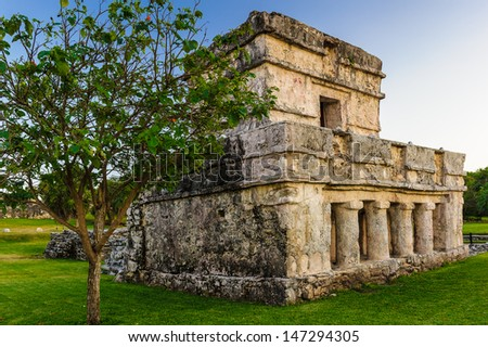 Temple of the Frescos, Yutacan, Mexico - stock photo