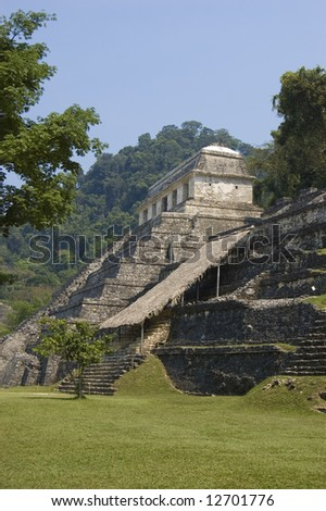 Temple of the Inscriptions in the mayan ruins at Palenque, Mexico - stock photo
