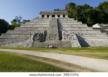 Temple of the Inscriptions. Ruins of the ancient Mayan city of Palenque, in the jungles of Chiapas, Mexico