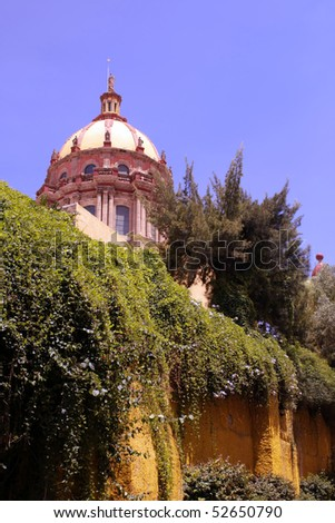 Temple of the Nuns in the historic Mexican city of San Miguel de Allende. - stock photo