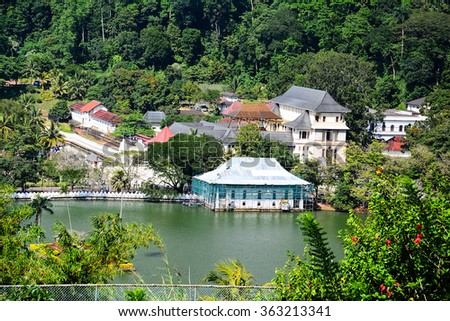 Temple Of The Sacred Tooth Relic, That Is Located In The Royal Palace Complex Of The Former Kingdom Of Kandy, Sri Lanka, Which Houses The Relic Of The Tooth Of Buddha - stock photo