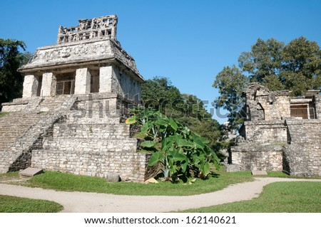 Temple of the Sun at the Mayan ruins of Palenque in Mexico - stock photo