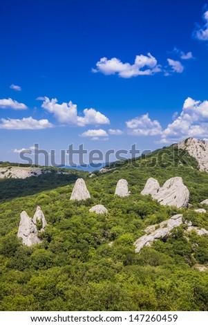 temple of the Sun on the Ilyas-Kaya mountain (Krimea, Ukraine) - stock photo