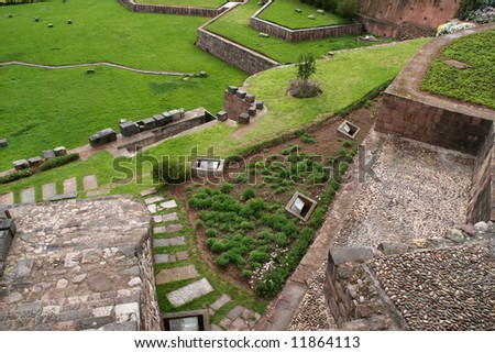 Temple of the Sun or Koricancha is located in the southern part of the city of Cusco, Peru - stock photo