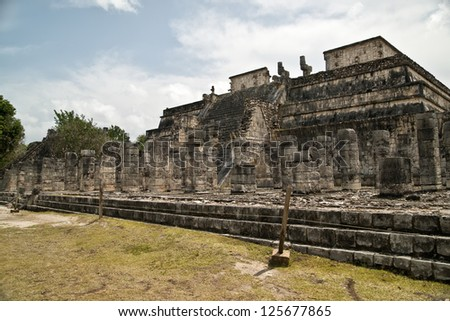 Temple of the Warriors - stock photo