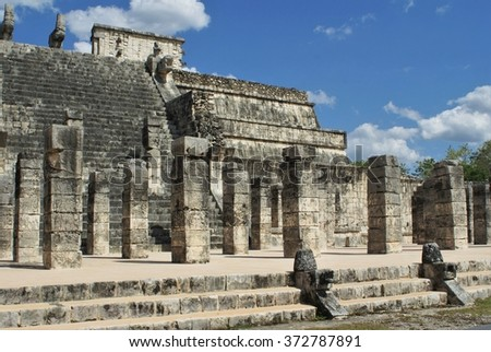 Temple of the Warriors, in Chichen Itza, Yucatan Peninsula, Mexico