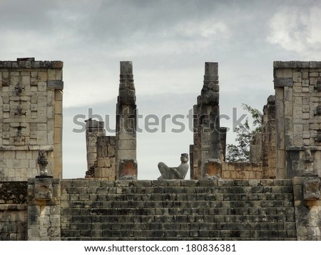 Temple of the Warriors with Chac Mool sculpture in Chichen the Itza archaeological site in Yucatan, Mexico - stock photo