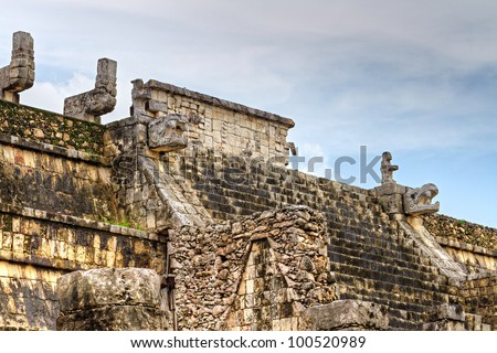 Temple of the Warriors with reflection in Chichen Itza - Mexico - stock photo