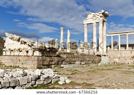 Temple of Trajan in the Ruins of the Ancient Greek City of Pergamon in Bergama, Turkey - stock photo