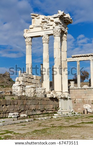 Temple of Trajan in the Ruins of the Ancient Greek City of Pergamon in Present-day Bergama, Turkey - stock photo