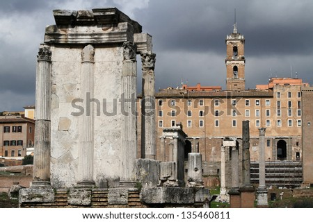 Temple of Vesta. The remaining structure indicates that there were twenty Corinthian columns built on a podium fifteen meters in diameter. - stock photo