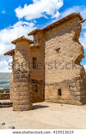 Temple of Wiracocha  or Temple of Raqchi an Inca Archaeological Site in Cusco Region, Peru - stock photo