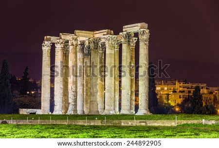 Temple of  Zeus in Athens, Greece - stock photo