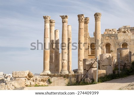 Temple of Zeus, Jordanian city of Jerash  (Gerasa of Antiquity), capital and largest city of Jerash Governorate, Jordan - stock photo
