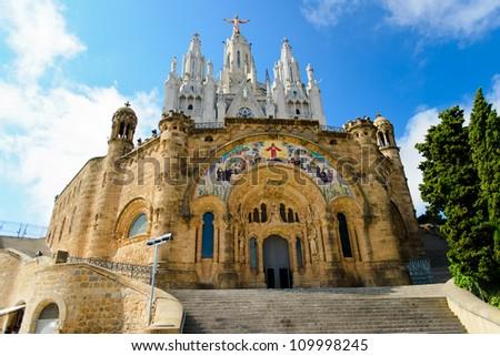 Temple on mountain top - Tibidabo in Barcelona city. Spain - stock photo