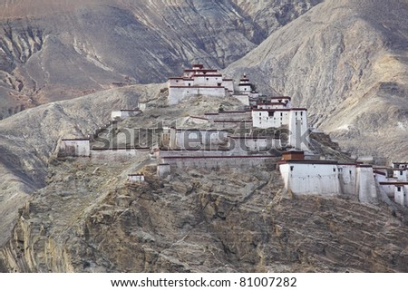 temple on mountains in the northwest of china - stock photo