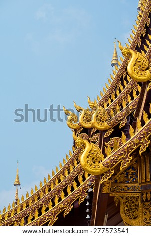 Temple Roof Detail, in Chiang Mai, Thailand - stock photo