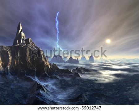 Temple Ruin on Alien Planet - stock photo