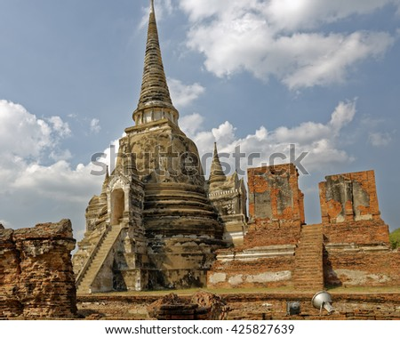 Temple ruins in Ayutthaya, the former capital of Thailand - stock photo