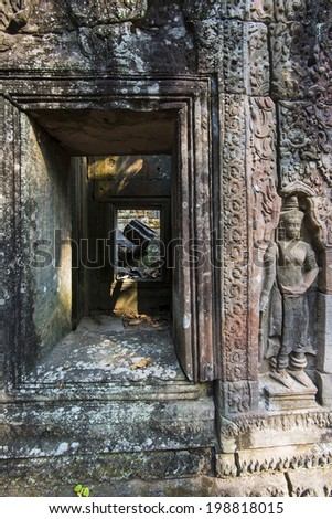 Temple ruins in the Angkor Wat complex. Siem Reap, Cambodia - stock photo