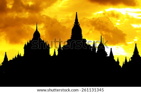 Temple Siluet In Bagan - stock photo