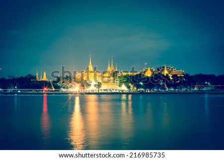 Temple, sky, boats, water, old town ,Wat Arun night view Temple in bangkok, Thailand - stock photo