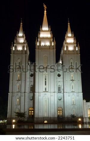 Temple square in Salt Lake City, Utah, USA - stock photo