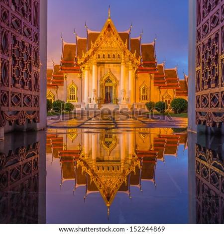 Temple (Wat Benchamabophit), Bangkok, Thailand  - stock photo