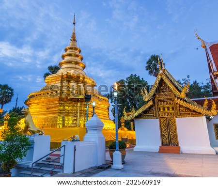 Temple - Wat Phra Sri Chomtong (Phra That Chom Thong) Of Chiang Mai, Thailand,They are public domain or treasure of Buddhism, no restrict in copy or use  - stock photo
